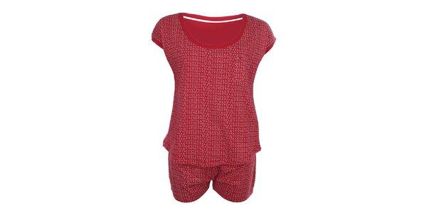 Dámske červené pyžamo so vzorom - tričko a šortky Tommy Hilfiger