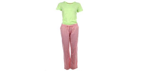 Dámske pyžamo - tričko s krátkym rukávom a pruhované nohavice Tommy Hilfiger