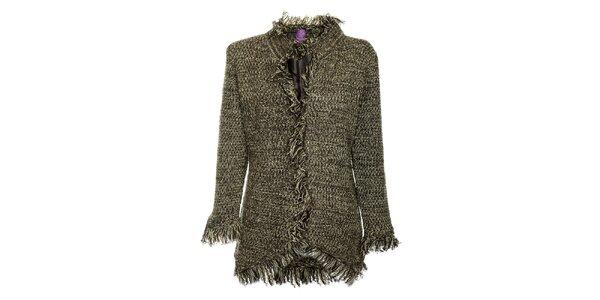 Dámsky šedo-čierny bavlnený kabátik Hope so strapcami