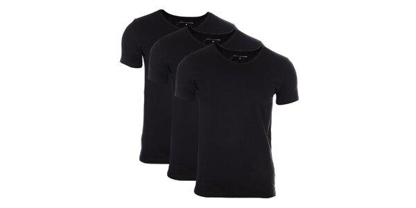 Set troch pánskych čiernych tričiek Tommy Hilfiger