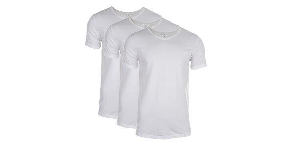 Sada troch pánskych bielych tričiek Tommy Hilfiger