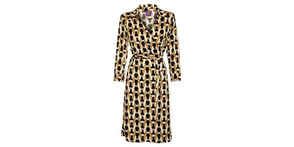 Dámske čierno-hnedé šaty Hope s potlačou