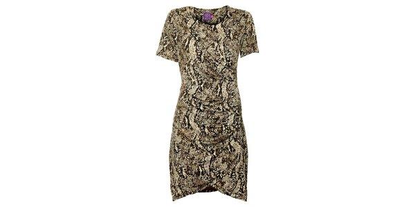 Dámske hnedo-béžové šaty Hope s hadím vzorom
