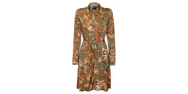 Dámske khaki šaty Hope s kvetinovým vzorom