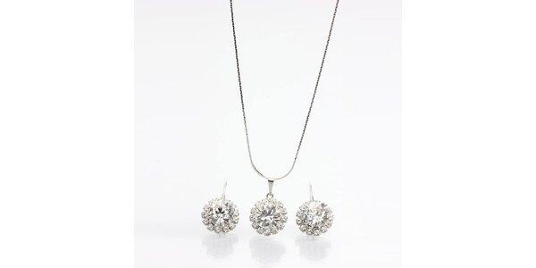 Dámsky set - náušnice a náhrdelník s kryštálikmi Laura Bruni