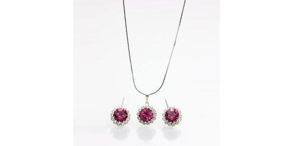 Dámsky set - náušnice a náhrdelník s farebnými kryštálmi Laura Bruni