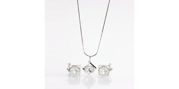 Dámsky set - hranaté náušnice a náhrdelník s kryštálmi Laura Bruni