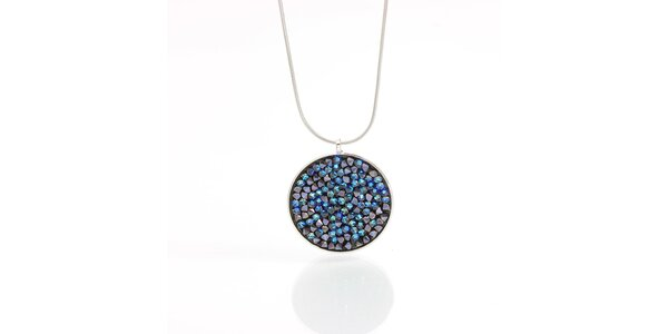 Dámsky náhrdelník s okrúhlym príveskom s modrými kryštálikmi Laura Bruni