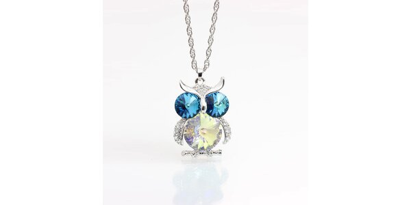 Dámsky náhrdelník so sovičkou s modrými kryštálmi Laura Bruni