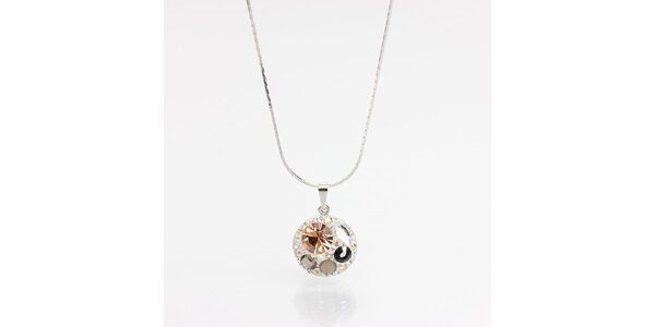 Dámsky náhrdelník s hnedými a čiernymi kryštálmi Laura Bruni