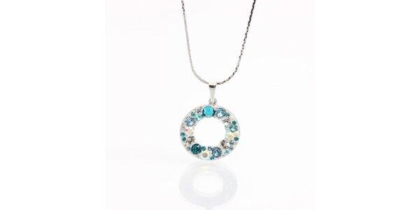 Dámsky náhrdelník s krúžkom a tyrkysovými kryštálmi Laura Bruni