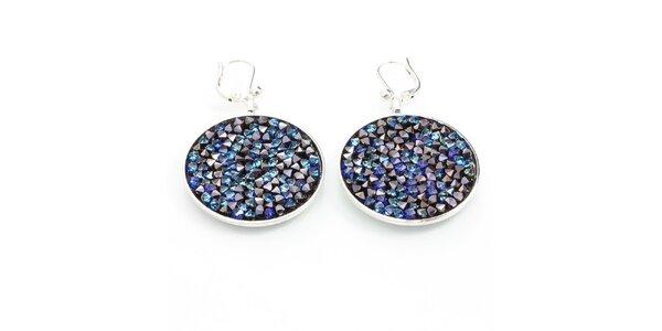 Dámske okrúhle náušnice s modrými kryštálmi Laura Bruni