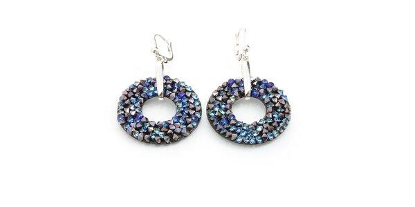 Dámske kruhové náušnice s modrými kryštálmi Laura Bruni