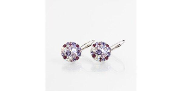 Dámske náušnice s fialovými kryštálmi Laura Bruni