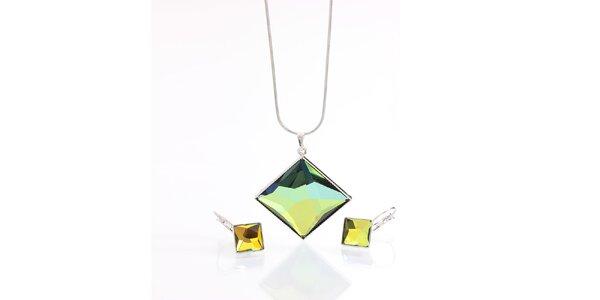 Dámsky set náušnic a náhrdelníka v tvare kosoštvorca Laura Bruni