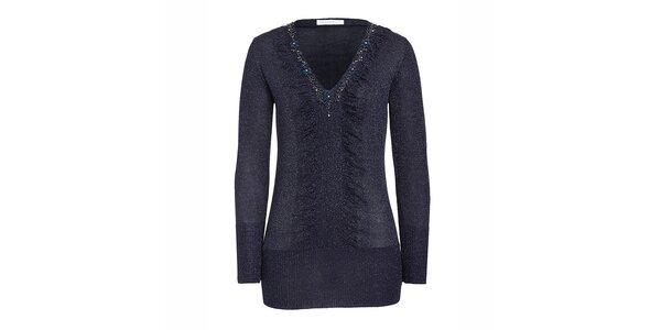 Dámsky tmavo modrý sveter s korálkami Imagini