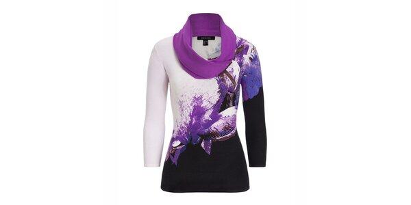Dámsky fialovo vzorovaný svetrík so šatkou Imagini