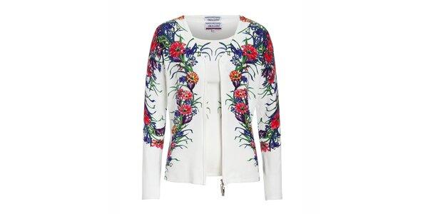 Dámsky biely twinset s farebnou kvetinovou potlačou Imagini