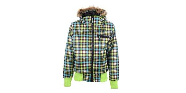 Dámska farebne kockovaná bunda s kapucňou Joluvi