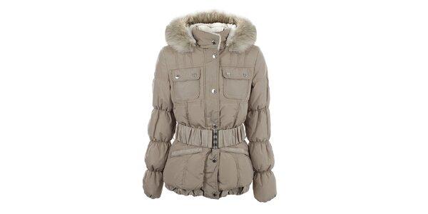 Dámska béžová bunda s prešívanými rukávmi Halifax