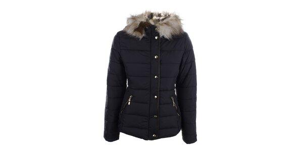 cfe2da0bdf2e Dámska tmavomodrá zimná bunda s kapucňou Bilin