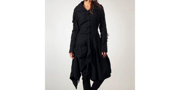Dámsky čierny vlnený kabát Angels Never Die