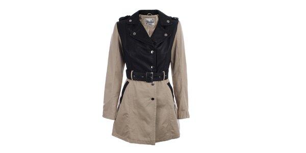 Dámsky béžovo-čierny kabát s opaskom Mila store