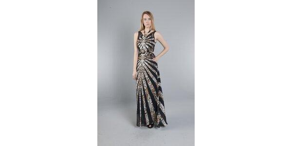 Dámske dlhé čierno-hnedé šaty Via Bellucci s leopardím vzorom