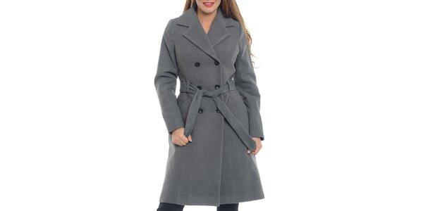 Dámsky šedý dvojradový kabát Vera Ravenna