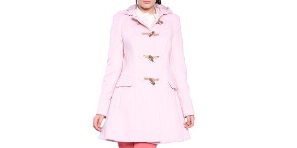 Dámsky svetlo ružový kabát s olivkovými gombíkmi Vera Ravenna