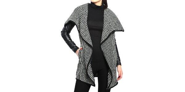 Dámsky dlhý čierno-biely kardigan Vera Ravenna