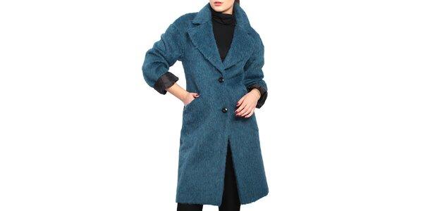 Dámsky modrý chlpatý kabát Vera Ravenna