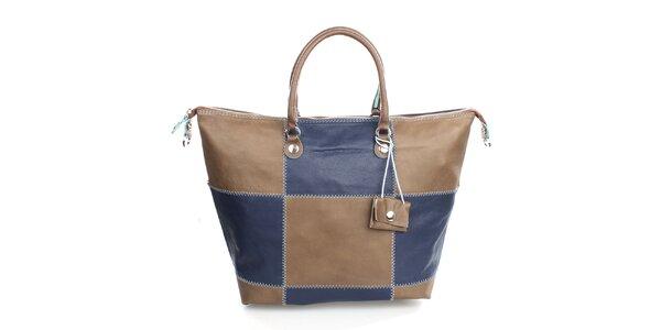 Dámska kockovaná modro-hnedá kabelka Gorétt