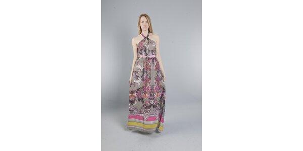 Dámske dlhé šedé šaty Via Bellucci s kvetinovou potlačou