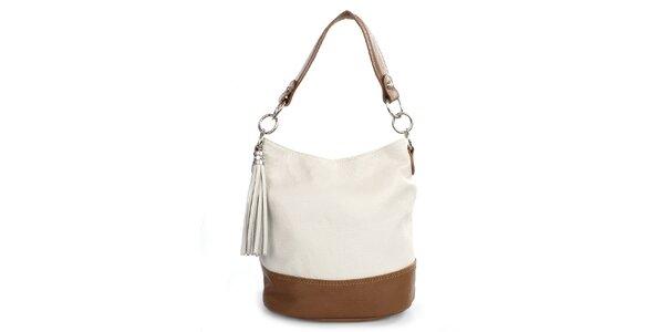 Dámska béžovo-hnedá taška so strapcom Gorétt