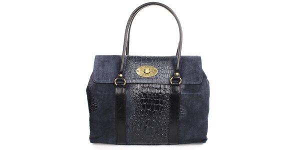 Dámska indigová kabelka s kovovým zámkom Gorétt