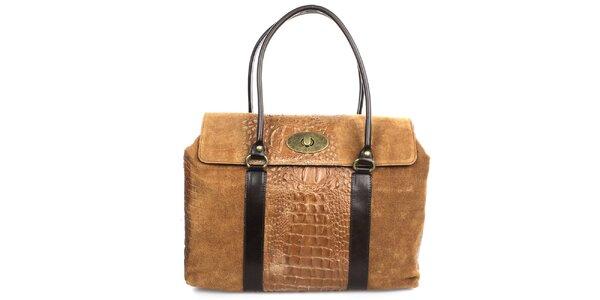 Dámska hnedá kabelka s kovovým zámkom Gorétt
