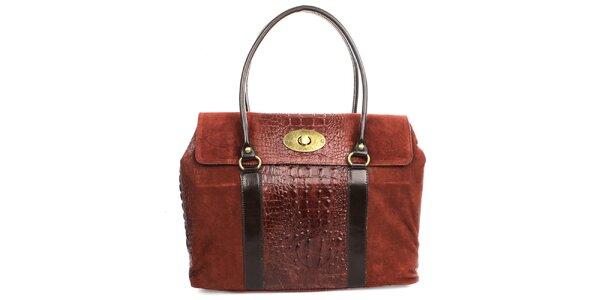 Dámska červená kabelka s kovovým zámkom Gorétt