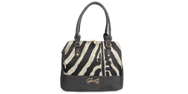 Dámska kabelka so zebrím vzorom na zips Gorétt