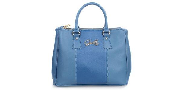 Dámska modrá kabelka s kovovým nápisom Gorétt