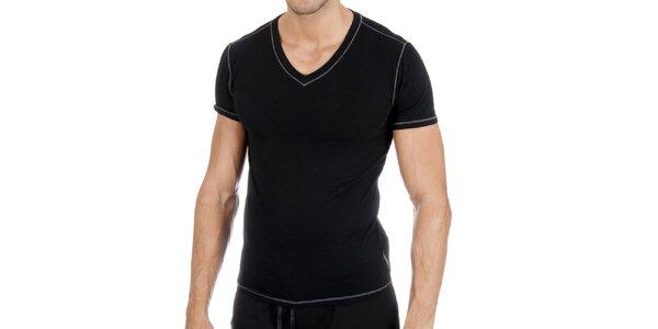 Pánske čierne tričko s véčkom a bielym prešívaním Polo Ralph Lauren