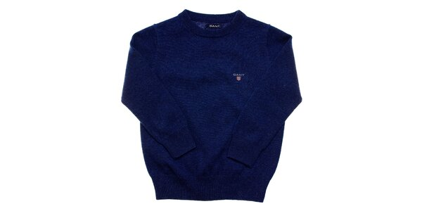 Detský tmavo modrý vlnený sveter Gant