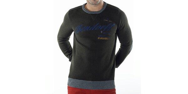 Pánsky tmavo zelený sveter s kontrastnými lemami Bendorff