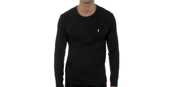 Pánske čierne tričko Polo Ralph Lauren s dlhým rukávom