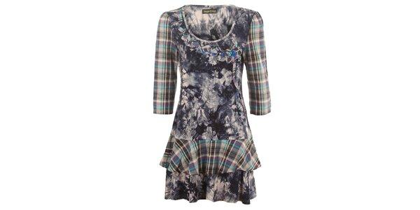 Dámske vzorované šaty s kockovanými rukávmi Sugar Crisp