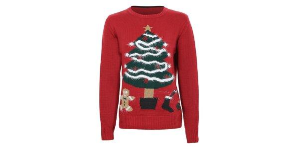Dámsky červený sveter s vianočným stromčekom Sugar Crisp