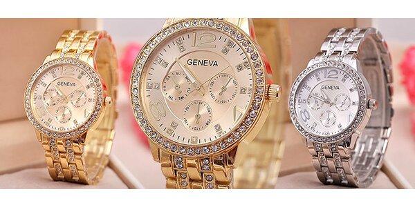 Hodinky Geneva s kryštálmi