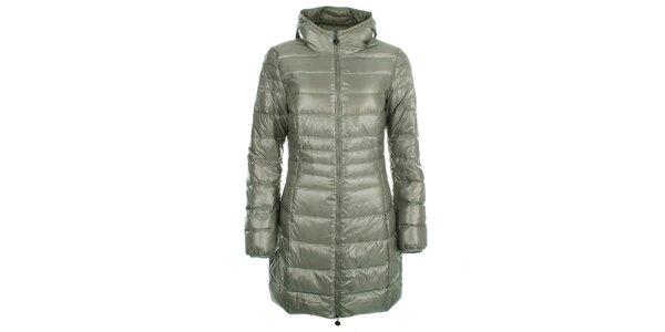 Dámsky lesklý šedozelený prešívaný kabát LWJ Collection