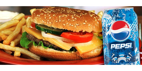 Hovädzí burger s hranolkami a nápojom