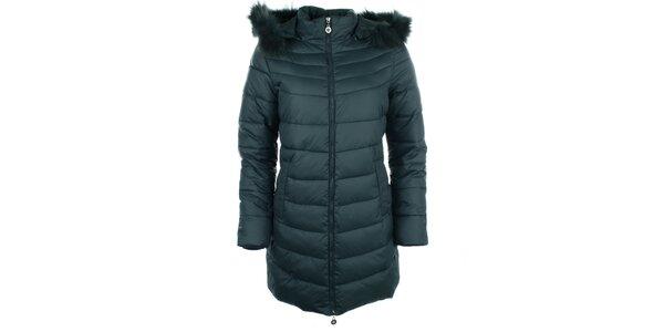 Dámsky tmavozelený kabát Fly Moda
